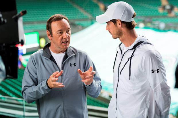 US actor Kevin Spacey has a chat with last year's Mens Singles winner, Scottish tennis champ Andy Murray