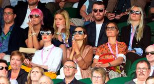 Anyone for tennis? (clockwise from top left) Amber Le Bon, Laura Whitmore, Sam Smith, Yasmin Le Bon, Maria Hatzistefanis and Erin O'Connor yesterday at Wimbledon