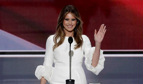 The good wife: Melania Trump addresses the Republican National Convention in Cleveland, where she was accused of plagiarising a speech by Michelle Obama