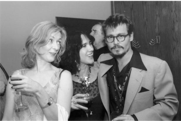 Victoria with actor Johnny Depp and journalist Marion McKeone at a party in a New York pub in 2005