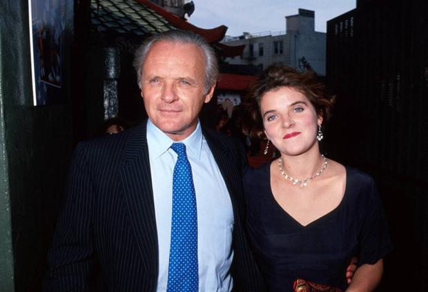 Anthony with his daughter Abigail Hopkins at a film premiere in 1991