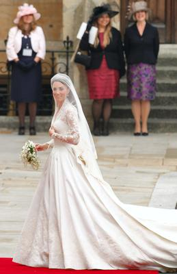 Kate Middleton arrives to Westminster Abbey for her marriage to Britain's Prince William in central London.