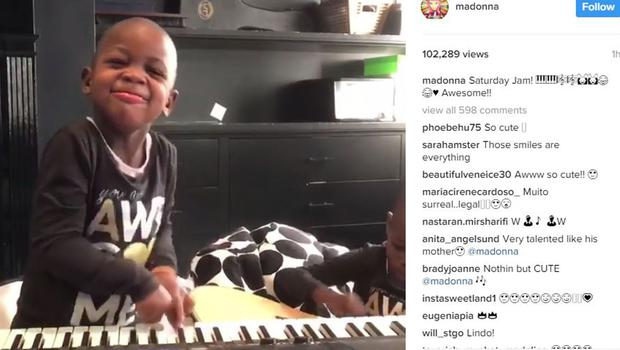 Screen-grabbed image taken from the Instagram page of Madonna showing her adopted twin daughters Stella and Esther playing a keyboard