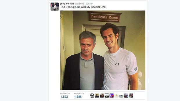 Screen grab taken from the Twitter feed of Judy Murray showing Chelsea manager Jose Mourinho with her son Andy (Judy Murray/Twitter/PA)