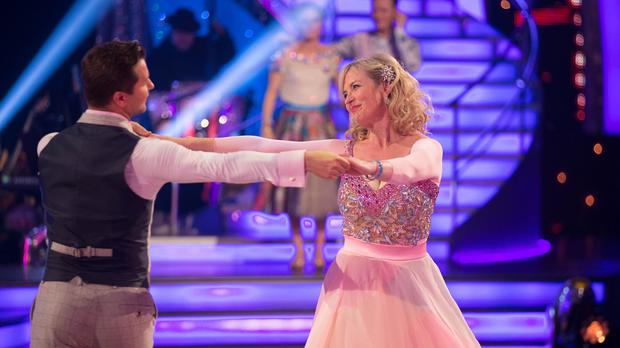 Pasha Kovalev and Carol Kirkwood during BBC One's Strictly Come Dancing results show