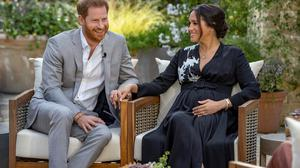 Prince Harry and Meghan, The Duke and Duchess of Sussex, give an interview to Oprah Winfrey in this undated handout photo. Harpo Productions/Joe Pugliese/Handout via REUTERS THIS IMAGE HAS BEEN SUPPLIED BY A THIRD PARTY. NO RESALES. NO ARCHIVES. MANDATORY CREDIT