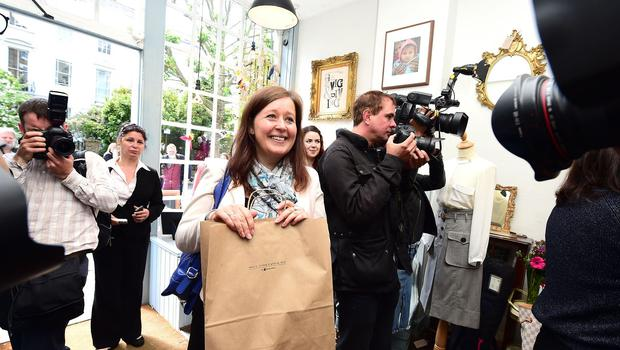 Rachael Bailey of London was the first to make a purchase as clothes belonging to Harper Beckham went on sale