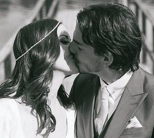 Broadcaster Jennifer Maguire and partner Lau Zamparelli at their wedding in Castle Leslie .