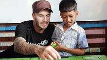 David Beckham visiting a drop-in centre in Cambodia to see how Unicef and its partners are working to protect vulnerable children from danger (Caroline Irby/Unicef/PA)