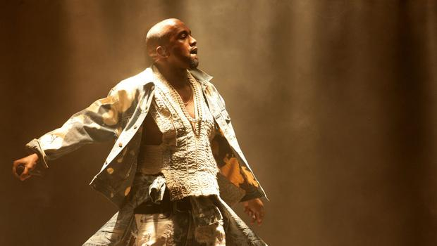 Kanye West headlining the Pyramid Stage on day two at the Glastonbury Festival