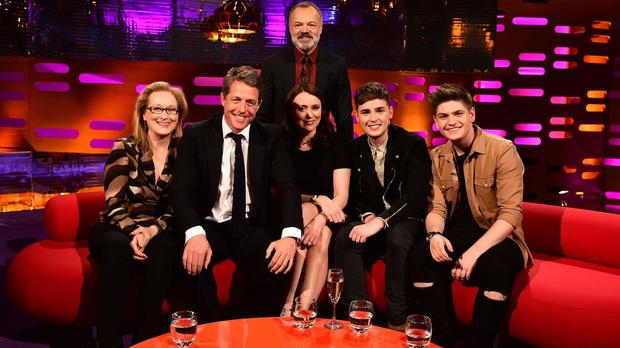 Meryl Streep, Hugh Grant, Graham Norton (back), Keeley Hawes and Eurovision contestants Joe and Jake during the filming of the Graham Norton Show