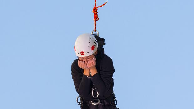 Prized Apart presenter Emma Willis jumped from a 30 metre high platform and grabbed onto a trapeze suspended in front of her