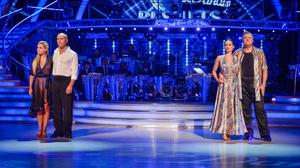 Judge Rinder and Ed Balls with their professional partners on Strictly Come Dancing