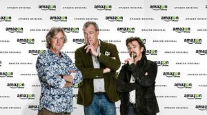 Jeremy Clarkson (centre), James May and Richard Hammond will soon be back on the road again with Amazon Prime