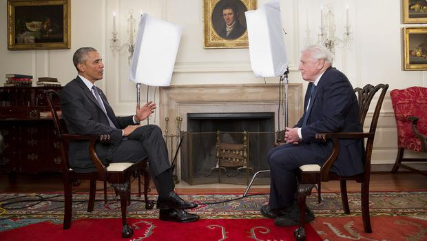 President Barack Obama meeting Sir David Attenborough in the Map Room of the White House (Chuck Kennedy/The White/BBC/PA)