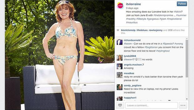Screen grab taken from the Instagram account of Lorraine Kelly which features a photo of the TV presenter in her bikini, which she insisted has not been altered in any way (itvlorraine/Instagram/PA)