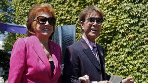 Cilla Black and Cliff Richard pictured at the Wimbledon Championships last year