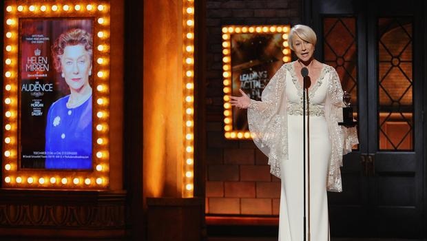 Helen Mirren accepts the award for performance by an actress in a leading role in a play for The Audience (Invision/AP)