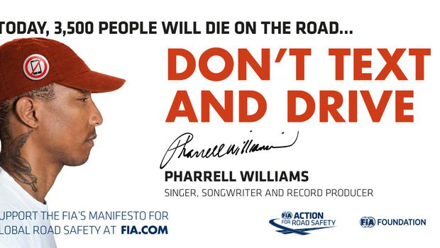 Pharrell Williams taking part in campaign urging people not to use mobile phones while driving. (FIA/PA)