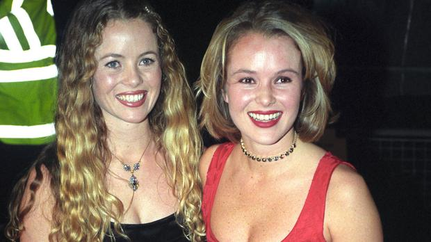 Amanda Holden, right, at the National Television Awards with sister Debbie