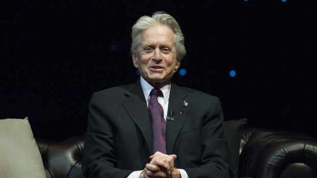 Michael Douglas on stage in London for a conversation with Jonathan Ross