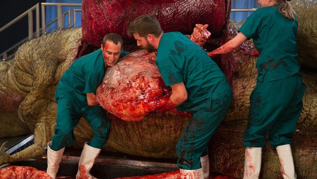 Doctors lift the stomach out of the body as they take part in an autopsy of an anatomically complete recreation of a Tyrannosaurus rex (National Geographic Channels/PA Wire)