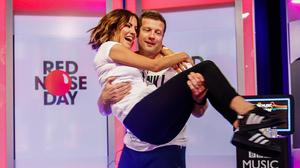 Dermot O'Leary with Caroline Flack during his 24-hour danceathon for Comic Relief (Comic Relief/PA)