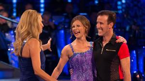 Host Tess Daly, Katie Derham and her dance partner Anton Du Beke during recording for the launch for this year's series of Strictly Come Dancing (BBC/PA)