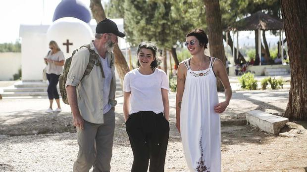 Game of Thrones cast members Liam Cunningham, Maisie Williams and Lena Headey visiting IRC programmes at Diavata refugee site in northern Greece