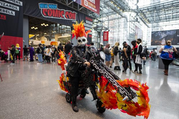 The Ghost Rider burned into the convention centre in style (Charles Sykes/AP)