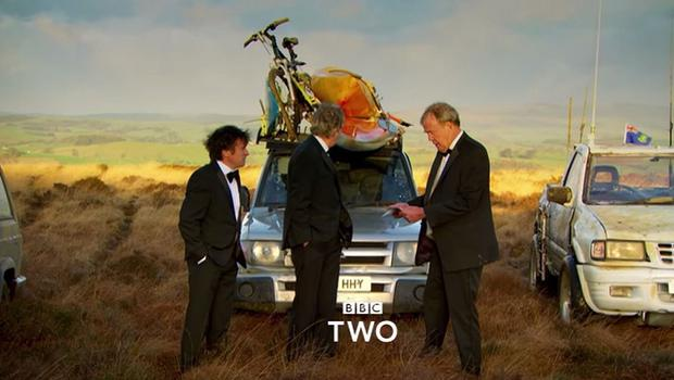 Richard Hammond, James May and Jeremy Clarkson in a preview of Clarkson's final show for Top Gear