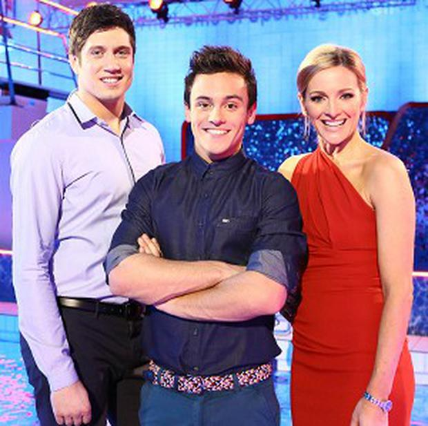 Vernon Kaye and Gabby Logan host Tom Daley's diving show Splash!
