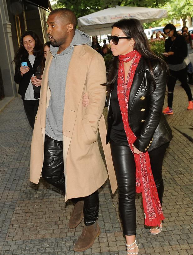 Kanye West and Kim Kardashian in Prague.