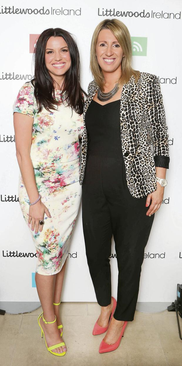 Caroline Morahan with Karen Nason, PR manager at the Littlewoods AW14 launch.