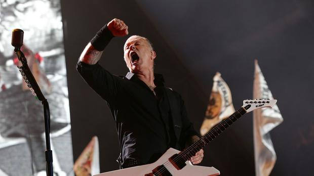 James Hetfield of Metallica performing on the Pyramid Stage