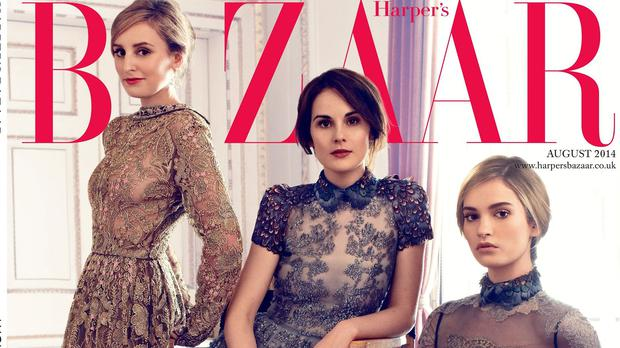 Three of the stars of Downton Abbey grace the cover of Harper's Bazaar