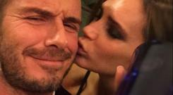 Victoria Beckham shared a snap of herself kissing husband David Beckham (Twitter/Victoria Beckham)