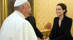 Angelina Jolie met Pope Francis during a private audience at the Vatican