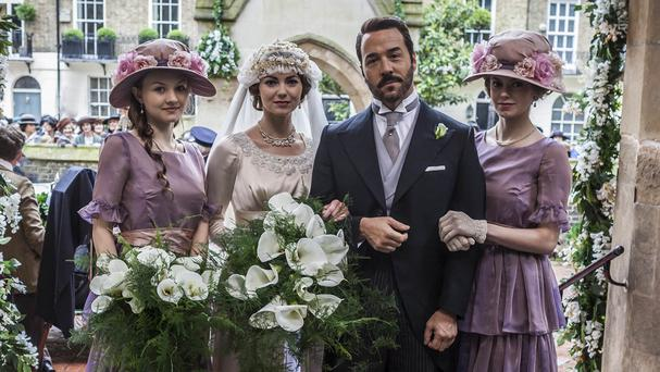 Mr Selfridge (Jeremy Piven) with his daughters Beatrice, Rosalie and Violette, played by Alana Boden, Kara Tointon and Hannah Tointon (ITV)
