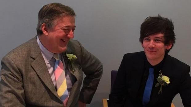 Stephen Fry and Elliott Spencer are now husband and husband (Stephen Fry/Twitter)
