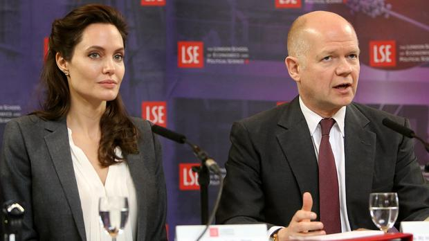 Angelina Jolie and William Hague launch the Women, Peace and Security Centre at the London School of Economics.