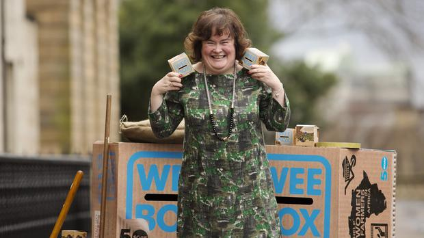 Susan Boyle launches the Sciaf Wee Box appeal (Scottish Catholic International Aid Fund/PA Wire)