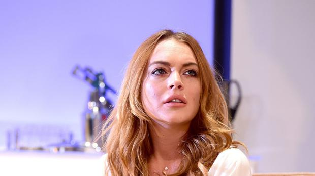Lindsay Lohan on stage in Speed-the-Plow at the Playhouse Theatre, London