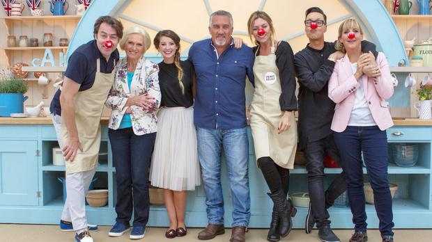 Abbey Clancy (third from right) and Gok Wan (second from right) were taking part in the The Great Comic Relief Bake Off