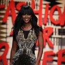 Naomi Campbell on the catwalk during the Fashion for Relief charity event to raise money to fight the Ebola crisis