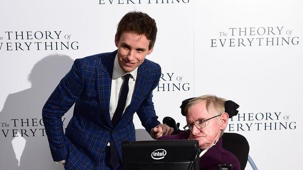 Professor Stephen Hawking, with Felicity Jones, Jane Wilde Hawking and Eddie Redmayne as biopic The Theory of Everything is nominated for Best Picture at the 87th Academy Awards