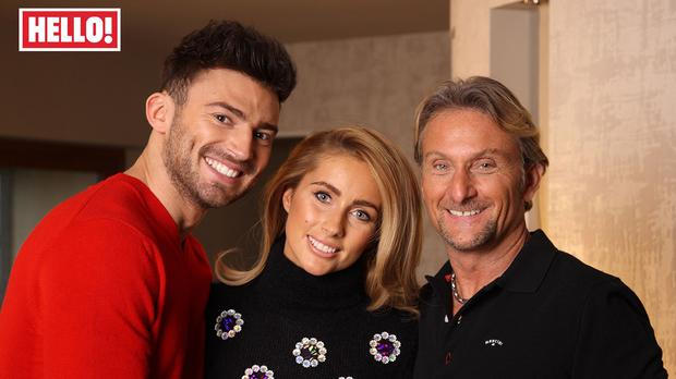 THIS PICTURE MUST ONLY BE USED IN CONJUNCTION WITH THE FRONT COVER OF THIS WEEKS HELLO! MAGAZINE. NO SALES NO ARCHIVE. EDITORIAL USE ONLY. Undated Hello! Magazine handout photo of (left to right) Jake Quickenden, Danielle Fogarty and Carl Fogarty who appear in this week's edition of Hello! Magazine.