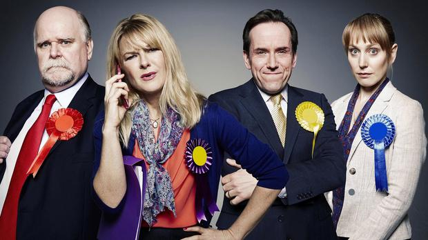 Trevor Cooper, Sarah Hadland, Ben Miller and Hattie Morahan are the stars of Ballot Monkey (Channel 4/PA Wire)
