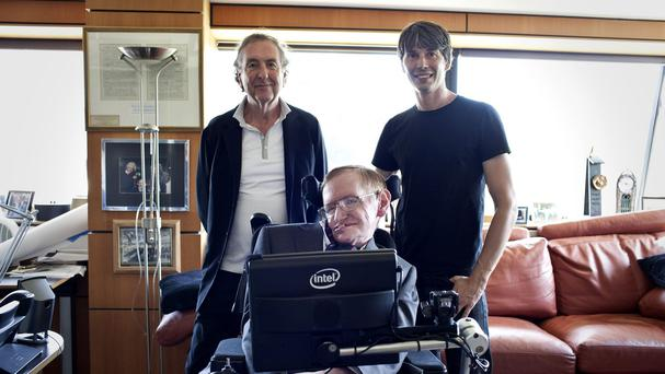Eric Idle, Professor Stephen Hawking and Brian Cox during the filming of a special video for the Monty Python reunion shows