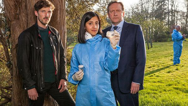 Midsomer Murders cast members Gwilym Lee, Manjinder Virk and Neil Dudgeon (Mark Bourdillon/ITV/PA)